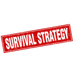 Survival strategy square stamp vector
