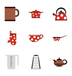Tableware icons set flat style vector