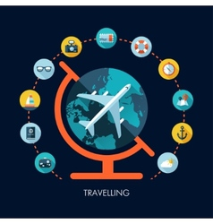 travel flat design composition vector image