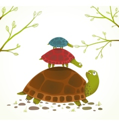 Turtle Mother and Babies Childish Animal vector image