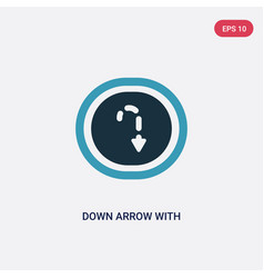 Two color down arrow with broken lines icon from vector