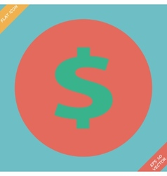 Us dollar green circle web icon vector