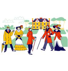 vintage gentlemen wearing hats and walking cane vector image