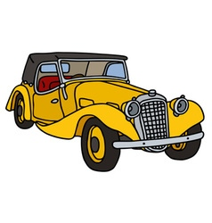 Vintage yellow cabriolet vector