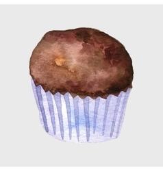 watercolor drawing cupcake vector image