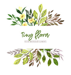 Watercolor tiny floral elements white banner vector