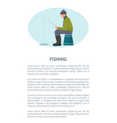 winter fishing fisherman with rod on ice icon vector image