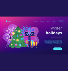Winter holidays concept landing page vector