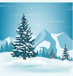 Winter landscape with snowy pine trees and vector