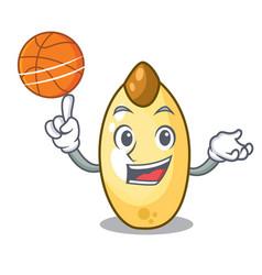 with basketball cedar nut on cartoon wooden table vector image