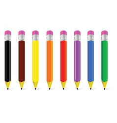 Wooden pen in eight color vector