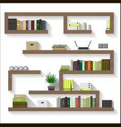 Wooden shelves for living vector