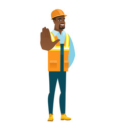 african-american builder showing palm hand vector image