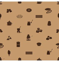 chocolate icons seamless brown pattern eps10 vector image