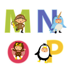 english alphabet with kids in animal costume m-p vector image vector image