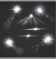 glowing light effect stars and flashes vector image