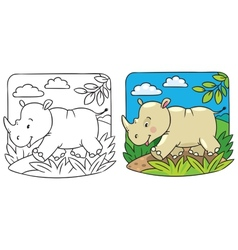 Little rhino coloring book vector image vector image