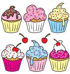 sprinkle cupcakes vector image