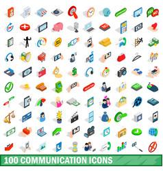 100 communication icons set isometric 3d style vector image