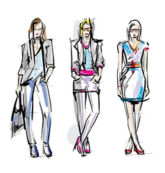 Artistic fashion sketches vector image