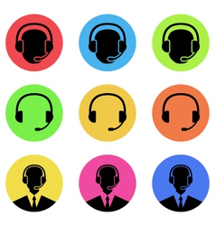 Colorful icons of call center and operator in vector