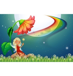 Fairy and flower vector image vector image