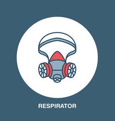gas mask respirator flat line icon logo vector image