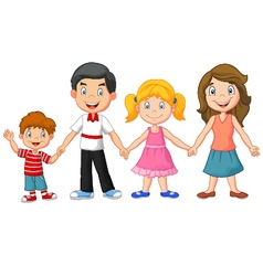 Happy family holding hands vector image vector image