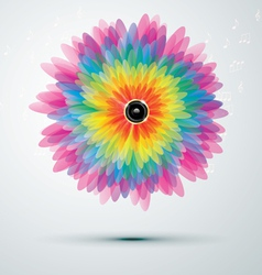 rainbow music flower vector image vector image