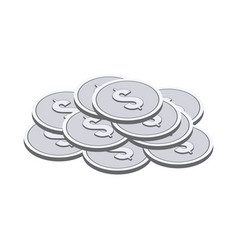 Silver coins symbol flat isometric icon or logo vector