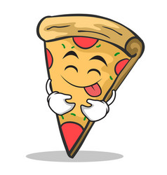 tongue out pizza character cartoon vector image vector image