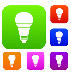 glowing led bulb set collection vector image