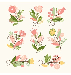 Set of beauty floral bouquets vector