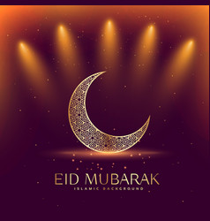 beautiful eid mubarak festival with crescent moon vector image