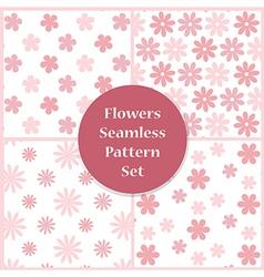 Flowers seamless pattern set vector image