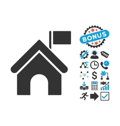 Government Building Flat Icon with Bonus vector image vector image