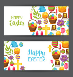 happy easter banners with decorative objects eggs vector image vector image