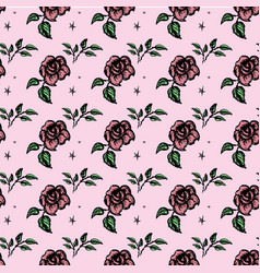 seamless pattern roses vector image vector image