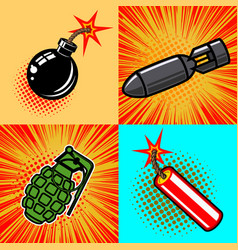 set of bomb in pop art style vector image vector image