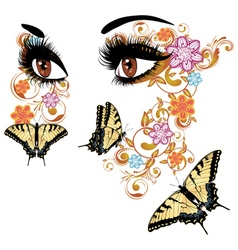 Summer Eyes with Floral3 vector image vector image