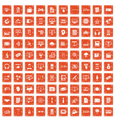 100 website icons set grunge orange vector image