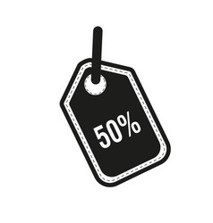 50 percent tag icon flat vector image