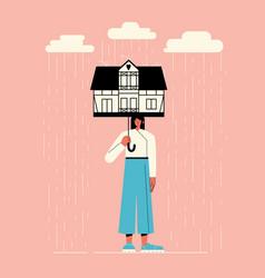 a girl under umbrella vector image