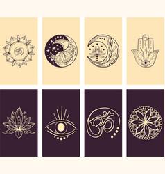 Abstract yoga story cover set minimal vector