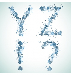 Alphabet water drop yz vector image