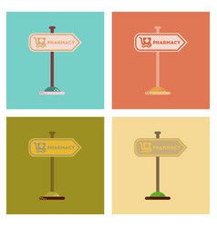 Assembly flat icons pharmacy sign vector