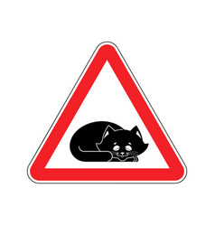 Attention sleeping cat caution pet red triangle vector