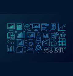 Audit concept blue business vector