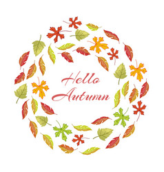 autumnal leaves round frame with hello autumn vector image
