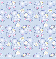baby bear blue seamless pattern vector image